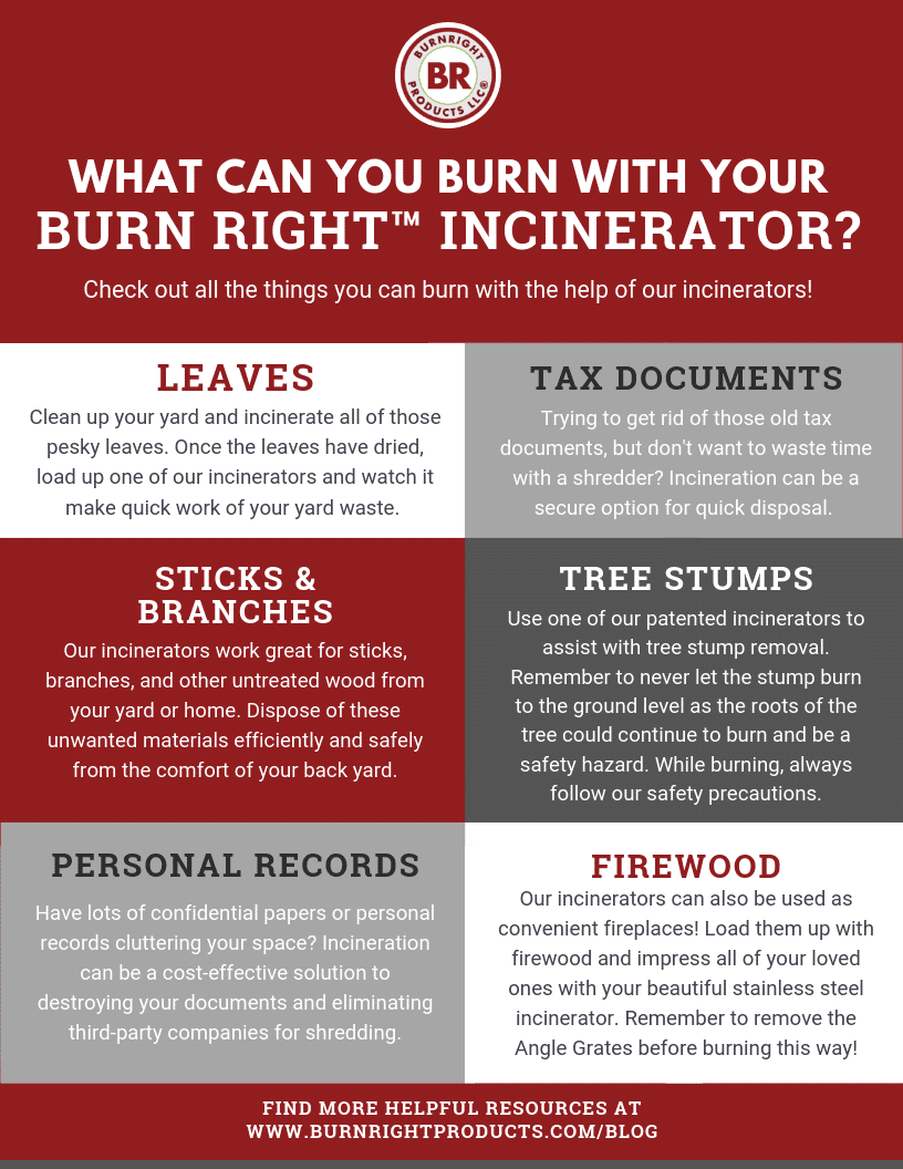 What can you incinerate with your Burn Right™ Incinerator? Take a look and explore some of your burning options!